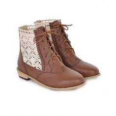 British Style Openwork and Lace-Up Design Women's Boots