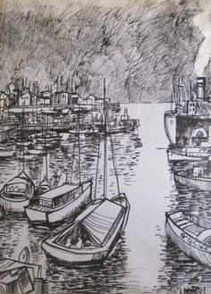 "Jonio Montiel ""Puerto II"" Tinta sobre papel 60 X 45 cms.  http://www.portondesanpedro.com/ver-producto.php?id=10647"