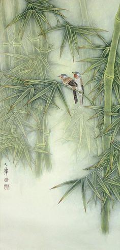 Birds and Bamboo – WS Chan Lou Dahua Chinese Artist. Birds and Bamboo Lou Dahua Chinese Artist. Birds and Bamboo Japanese Painting, Chinese Painting, Chinese Art, Chinese Brush, Silk Painting, Painting & Drawing, Asian Artwork, Art Chinois, Art Asiatique