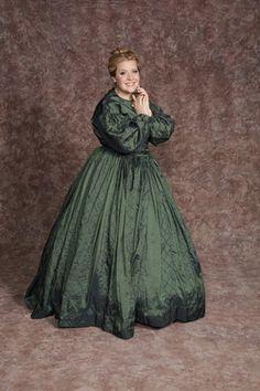 $30.00 Costume Rental  Aunt March #5  green long sleeved polyester taffeta dress w/striped diamond patterned skirt