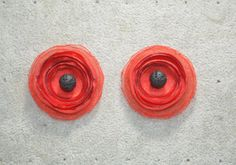 red poppy stud earrings perimeter) with Santorini lava beads.Made of satin and organza for adorable look. Flower Jewelry, Red Poppies, Handmade Flowers, Santorini, Lava, Poppy, Satin, Stud Earrings, Beads