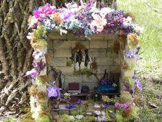 Fenced fairy house. Fairy garden, fairy furniture, miniature furniture, indoor garden, fairy display. Charming gift!