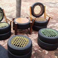 Dining set · 15 Different Uses For Tires · Some easy ideas to recycle old tires · Via www.sweethings.net