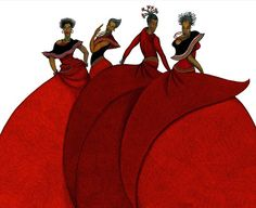 African-American Art | Charles Bibbs Sisters In Motion Remarque African American Art