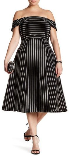 Plus Size Off-The-Shoulder Pinstripe Dress