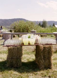 country hay bale wedding drink bar / http://www.deerpearlflowers.com/gorgeous-ideas-for-country-farm-wedding/2/