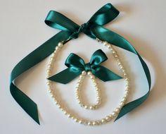 Emerald green flower girl jewelry set adjustable necklace by xxyz, $27.00