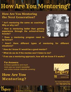 How are you mentoring the next generation? #AGLEGACY.org #FarmSuccession  FOR ANSWERS: to these questions and much more see our recent newsletter and online module covering: how are you mentoring? at AGLEGACY.org