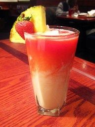 Adults only: Sunset Passion Colada -- Just like at Red Lobster!   1 1/4 oz. coconut rum  4 oz. pina colada NA drink mix  1 oz. NA strawberry daiquiri mix  Directions: Place rum and pina colada mix in blender with ice. Blend until smooth.Pour into a tall glass and top with the strawberry daquiri mix. The fruit sits on top to make it pretty :)  If only I had a blender
