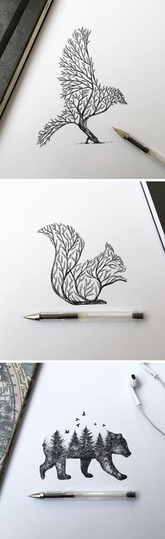 Dibujos Más illustration Pen & Ink Depictions of Trees Sprouting into Animals by Alfred Basha Easy Pencil Drawings, Easy Animal Drawings, Pencil Art, Cool Drawings, Easy People Drawings, Disney Drawings, Sketches Of People, Drawing People, Drawing Animals