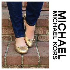 Michael Kors Gold Ballerina Flats Preowned. Worn once. Gold leather. Rubber sole. Round toe. Slip on MICHAEL Michael Kors Shoes Flats & Loafers