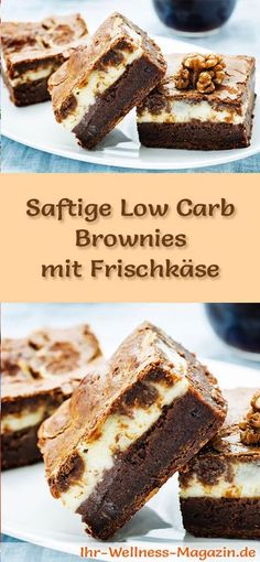 Juicy brownies with cream cheese - low-carb recipe without sugar .-Saftige Brownies mit Frischkäse – Low-Carb-Rezept ohne Zucker Recipe for juicy low carb brownies with cream cheese – low in carbohydrates, reduced in calories, without sugar and flour - Brownie Low Carb, Low Carb Cheesecake, Cheesecake Recipes, Protein Brownies, Keto Brownies, Low Carb Sweets, Low Carb Desserts, Low Carb Recipes, Vegan Recipes