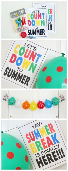 The best DIY projects & DIY ideas and tutorials: sewing, paper craft, DIY. Best Diy Crafts Ideas For Your Home Balloon Countdown to Summer Break - grab the free prints and string some balloons. The kids are going to LOVE popping Summer Activities, Craft Activities, Crafts For Teens, Crafts For Kids, Easy Crafts, Diy Spring, Spring Break, Freebies, Diy And Crafts Sewing