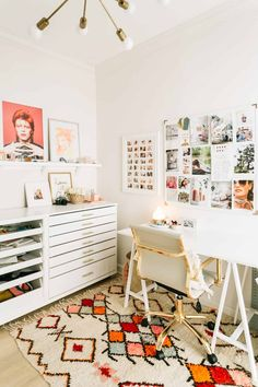 white office inspo with pops of color