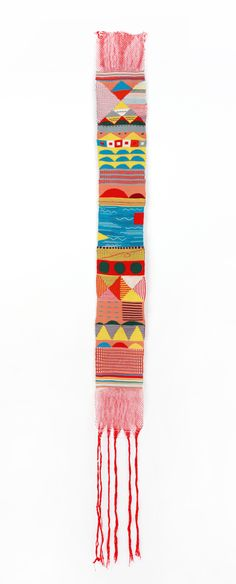 When I first saw Hannah Waldron's weavings, I immediately noticed how uniquely she echoed the pioneering work of Bauhaus weavers Anni Albers and Gunta Stolzl. They, too, ingeniously combined abstract, geometric grids with whimsical wisps of color and vague allusions to landscapes and the tall chimne