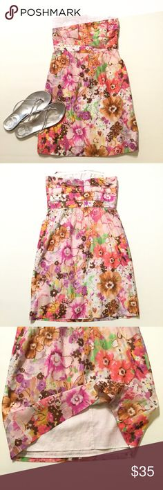 "J. Crew Dress J. Crew floral strapless dress. Size 2. Back zipper. 73% cotton 21% silk. Lining 100% cotton. Length 28"". J. Crew Dresses Mini"