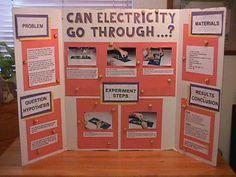 Science Fair Project Idea on electricity, insulators, conductors Science Fair Board Layout, Science Fair Poster, Science Project Board, Science Fair Experiments, Science Fair Projects Boards, School Science Projects, Science Boards, Science Activities, Engineering Science Fair Projects