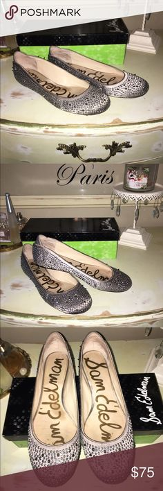 Sam Edelman Jolie Flat Satin upper and smooth man made some. Ballet style flat with studs and spikes. In good condition. Comes with box and additional studs and spikes. Sam Edelman Shoes Flats & Loafers