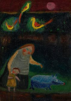 Nikolai Lehto: Yöllinen kulkue, 1968, öljy levylle, 51x38 cm - Bukowskis Modern 2015 Naive Art, Bukowski, Surrealism, Portrait, Finland, Artist, Painting, Illustrations, Modern