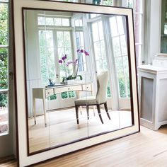 Bernhardt. Haven Vanity/Desk and Upholstered Chair, reflected in Haven Mirror (78in). Soon to arrive!