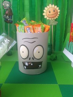 Zombie Birthday Parties, Zombie Party, Lego Birthday Party, Halloween Birthday, 9th Birthday, Balloon Decorations Party, Birthday Decorations, Party Themes, Plants Vs Zombies