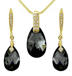 Black and Gold Tone Tear Drop Necklace Earrings Set - Swarovski Elements Crystals - Gift Present for Her *** Discover this special product, click the image : Jewelry Sets Washer Necklace, Pendant Necklace, Presents For Her, Crystal Gifts, Teardrop Necklace, Beautiful Necklaces, Earring Set, Jewelry Sets, Swarovski
