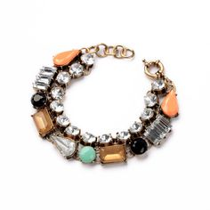 Antique Gold Plated Birthday Gift Double Chains Resin Square Tear Round Girls Colorful Bracelet