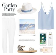 """""""Soft blue"""" by nadialesa ❤ liked on Polyvore featuring MANGO, Melissa Odabash, Roland Mouret, WALL, Charlotte Olympia, Tory Burch, Hermès, Blue, soft and hat"""