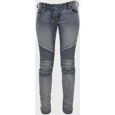 Balmain Blue Bleach Dirty Biker Vintage Skinny Jeans ($1,175) ❤ liked on Polyvore
