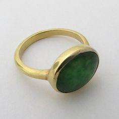 Jade Ring 14k Gold and Jade Ring Engagement by malkaravinajewelry,