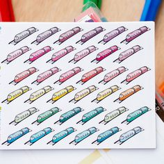 45 Trains Mini Icons -  Colourful Hand Drawn Sticker Planner by FasyShop on Etsy