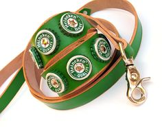 Green Leather Dog Collar and Leash Set with by Greenbelts on Etsy, $75.00