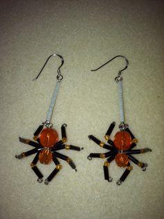 Beaded Spider Earrings  Black & Orange by AmysBeadedCrafts on Etsy