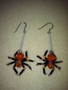 Beaded Spider Earrings  Black & Orange by AmysBeadedCrafts on Etsy, $15.00