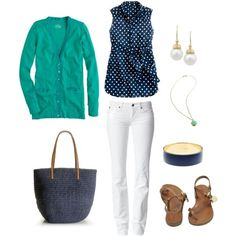 green cardigan | navy polka dot top with white jeans and green cardigan