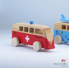 "Personalized Wooden Toy, wooden bus "" VW Kombi ambulance"""