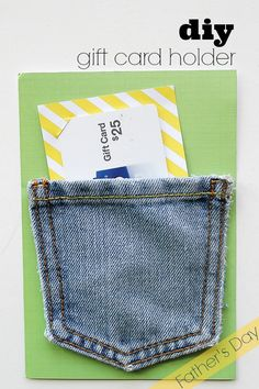 Reuse kids' jeans to make his gift card special with a denim gift card holder! Using Scotch™ Precision Scissors and Scotch® Super 77™ Multi-Purpose Spray Adhesive you can create your own!