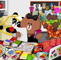 Choco is making qipao dress with herself Cony Brown, Brown Bear, Lines Wallpaper, Iphone Wallpaper, Line Love, Friends Wallpaper, Line Friends, Sanrio Characters, My Pokemon