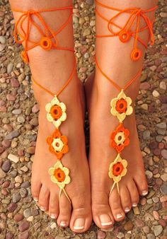 Crochet Barefoot Sandals- Great Accessory for Summer- Orange and Yellow. $9.99, via Etsy.