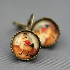 Chick In Kerchief Earrings, $14.50, now featured on Fab.