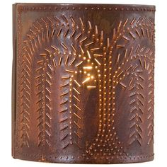 PUNCHED TIN SCONCE LIGHT Handcrafted Willow Tree Pattern Wall Lamp in Blackened or Rustic Tin Finish