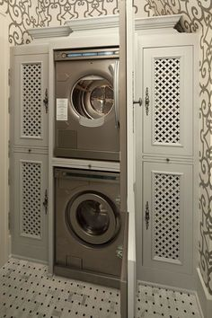 Love the way they hide the washer & dryer away.
