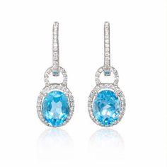 .54ct Diamond and Blue Topaz 18k White Gold Dangle Earrings