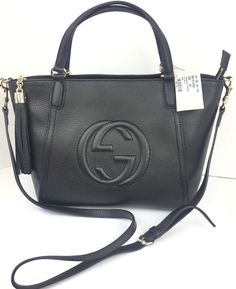 77963ad61b51 Authentic New Gucci Black Soho Leather Tassel Zip Top Crossbody/Tote  #369176,NWT