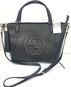 42aa8019ca3bae Authentic New Gucci Black Soho Leather Tassel Zip Top Crossbody/Tote  #369176,NWT