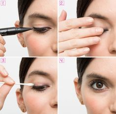 Give yourself an effortless smoky eye. First, line your eyes with a kohl liner. Next, gently rub your eyes with your fingertips to messily smudge the liner. Then, use a cotton swab coated in moisturizer, such as Embryolisse Lait Crème Concentrè, to clean up most of the black liner residue, add a subtle sheen, and finish off the rocker-girl look. (Tip via Diane Kendal at Tory Burch.)