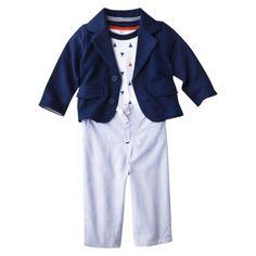 Jameson- Cherokee® Newborn Boys' 3 - Piece Blazer, Bodysuit and Pant Set - Blue