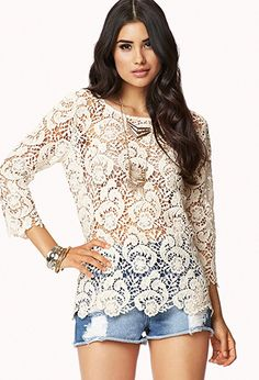 Scalloped Crochet Top | FOREVER 21 - 2048680801