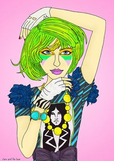 Jem and the Holograms 01 illustration by Clare and the Bear. ALL RIGHTS RESERVED. #clareandthebear #clareannenield #jem #jemandtheholograms #greenhair #greenhairdontcare #rainbowhair #makeup #beauty #fashion #vintage #retro #fashionillustration #fashiondesign #art #artist
