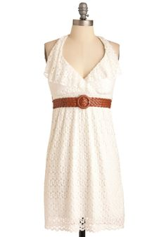 Lost in Austin Dress - Mid-length, White, Lace, Ruffles, Empire, Halter, Casual, Boho, Solid, Summer